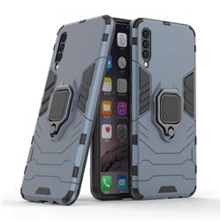Black Panther Armor Metal Ring Grip Shockproof Dual Layer Rugged Hard Cover for Samsung Galaxy A50 - Blue