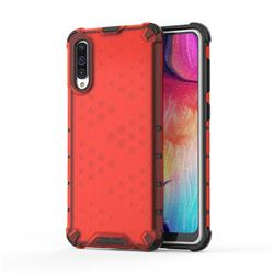 Honeycomb TPU + PC Hybrid Armor Shockproof Case Cover for Samsung Galaxy A50 - Red