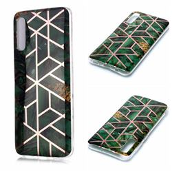 Green Rhombus Galvanized Rose Gold Marble Phone Back Cover for Samsung Galaxy A50