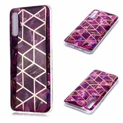 Purple Rhombus Galvanized Rose Gold Marble Phone Back Cover for Samsung Galaxy A50