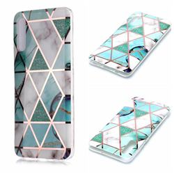 Green White Galvanized Rose Gold Marble Phone Back Cover for Samsung Galaxy A50