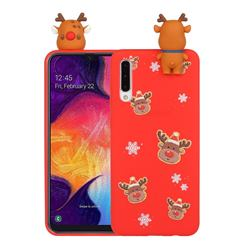 Elk Snowflakes Christmas Xmax Soft 3D Doll Silicone Case for Samsung Galaxy A50