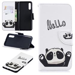 Hello Panda Leather Wallet Case for Samsung Galaxy A50