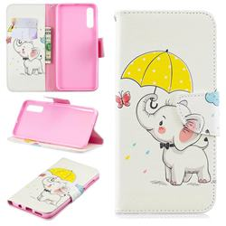 Umbrella Elephant Leather Wallet Case for Samsung Galaxy A50