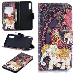 Totem Flower Elephant Leather Wallet Case for Samsung Galaxy A50