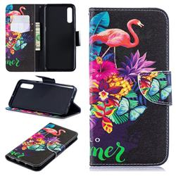 Flowers Flamingos Leather Wallet Case for Samsung Galaxy A50