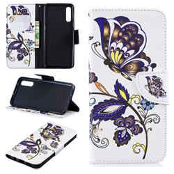 Butterflies and Flowers Leather Wallet Case for Samsung Galaxy A50