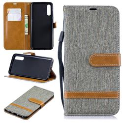 Jeans Cowboy Denim Leather Wallet Case for Samsung Galaxy A50 - Gray