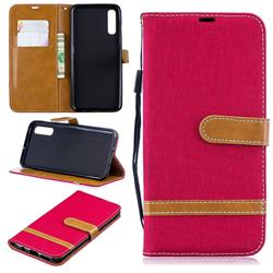 Jeans Cowboy Denim Leather Wallet Case for Samsung Galaxy A50 - Red