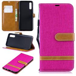 Jeans Cowboy Denim Leather Wallet Case for Samsung Galaxy A50 - Rose