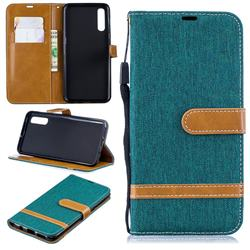 Jeans Cowboy Denim Leather Wallet Case for Samsung Galaxy A50 - Green