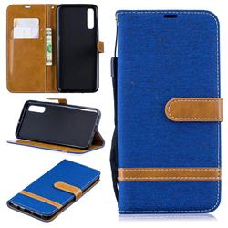 Jeans Cowboy Denim Leather Wallet Case for Samsung Galaxy A50 - Sapphire