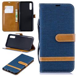Jeans Cowboy Denim Leather Wallet Case for Samsung Galaxy A50 - Dark Blue
