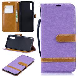 Jeans Cowboy Denim Leather Wallet Case for Samsung Galaxy A50 - Purple