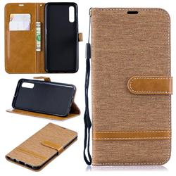Jeans Cowboy Denim Leather Wallet Case for Samsung Galaxy A50 - Brown