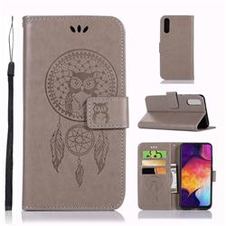 Intricate Embossing Owl Campanula Leather Wallet Case for Samsung Galaxy A50 - Grey