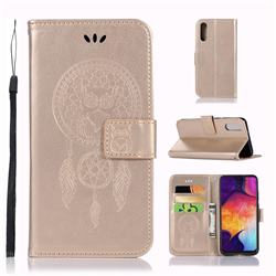 Intricate Embossing Owl Campanula Leather Wallet Case for Samsung Galaxy A50 - Champagne