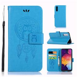 Intricate Embossing Owl Campanula Leather Wallet Case for Samsung Galaxy A50 - Blue