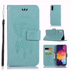 Intricate Embossing Owl Campanula Leather Wallet Case for Samsung Galaxy A50 - Green