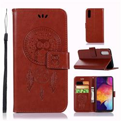 Intricate Embossing Owl Campanula Leather Wallet Case for Samsung Galaxy A50 - Brown