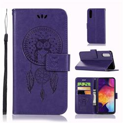 Intricate Embossing Owl Campanula Leather Wallet Case for Samsung Galaxy A50 - Purple