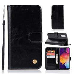 Luxury Retro Leather Wallet Case for Samsung Galaxy A50 - Black