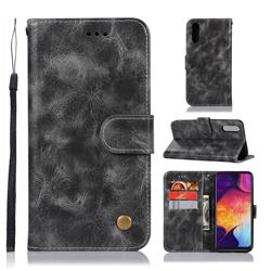 Luxury Retro Leather Wallet Case for Samsung Galaxy A50 - Gray