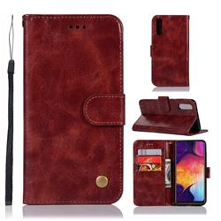 Luxury Retro Leather Wallet Case for Samsung Galaxy A50 - Wine Red