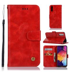 Luxury Retro Leather Wallet Case for Samsung Galaxy A50 - Red