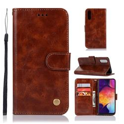 Luxury Retro Leather Wallet Case for Samsung Galaxy A50 - Brown