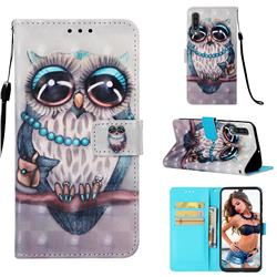 Sweet Gray Owl 3D Painted Leather Wallet Case for Samsung Galaxy A50