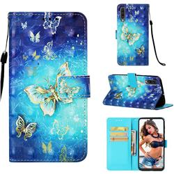 Gold Butterfly 3D Painted Leather Wallet Case for Samsung Galaxy A50
