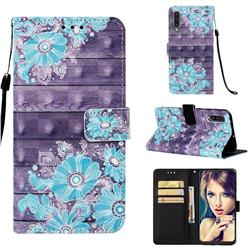 Blue Flower 3D Painted Leather Wallet Case for Samsung Galaxy A50