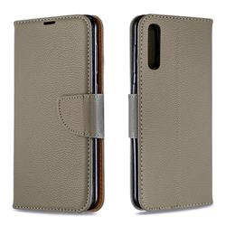 Classic Luxury Litchi Leather Phone Wallet Case for Samsung Galaxy A50 - Gray