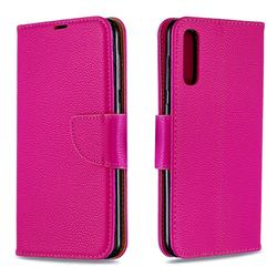 Classic Luxury Litchi Leather Phone Wallet Case for Samsung Galaxy A50 - Rose
