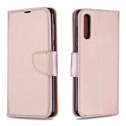Classic Luxury Litchi Leather Phone Wallet Case for Samsung Galaxy A50 - Golden