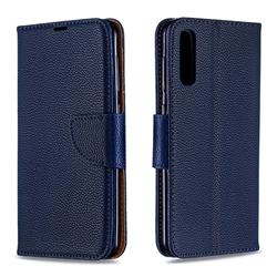 Classic Luxury Litchi Leather Phone Wallet Case for Samsung Galaxy A50 - Blue