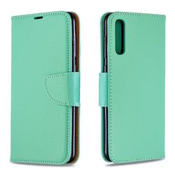 Classic Luxury Litchi Leather Phone Wallet Case for Samsung Galaxy A50 - Green