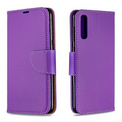 Classic Luxury Litchi Leather Phone Wallet Case for Samsung Galaxy A50 - Purple