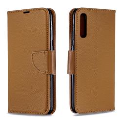 Classic Luxury Litchi Leather Phone Wallet Case for Samsung Galaxy A50 - Brown