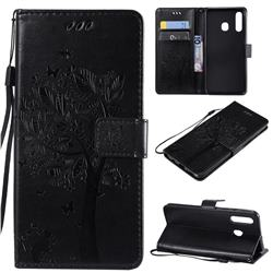 Embossing Butterfly Tree Leather Wallet Case for Samsung Galaxy A50 - Black