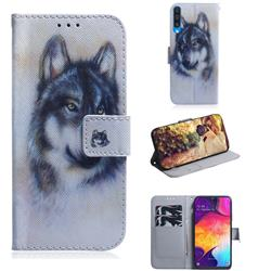 Snow Wolf PU Leather Wallet Case for Samsung Galaxy A50
