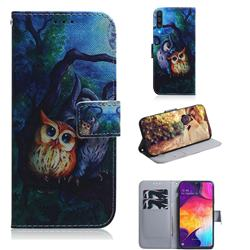 Oil Painting Owl PU Leather Wallet Case for Samsung Galaxy A50