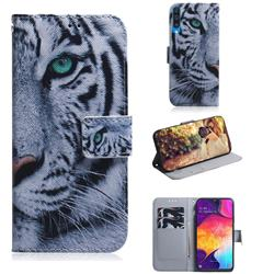 White Tiger PU Leather Wallet Case for Samsung Galaxy A50