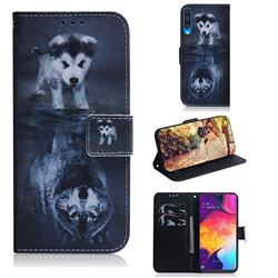 Wolf and Dog PU Leather Wallet Case for Samsung Galaxy A50