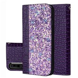 Shiny Crocodile Pattern Stitching Magnetic Closure Flip Holster Shockproof Phone Case for Samsung Galaxy A50 - Purple