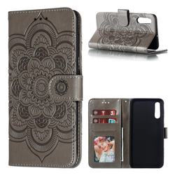 Intricate Embossing Datura Solar Leather Wallet Case for Samsung Galaxy A50 - Gray