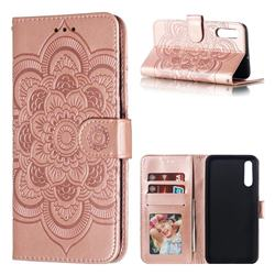 Intricate Embossing Datura Solar Leather Wallet Case for Samsung Galaxy A50 - Rose Gold