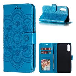 Intricate Embossing Datura Solar Leather Wallet Case for Samsung Galaxy A50 - Blue