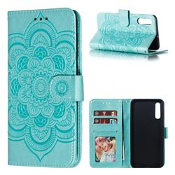 Intricate Embossing Datura Solar Leather Wallet Case for Samsung Galaxy A50 - Green